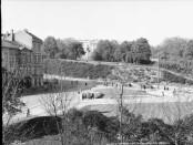 Nedgangen til Nationaltheatret stasjon i 1929. Foto: Anders Beer Wilse.