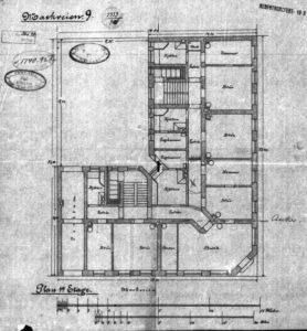 Rudolf Haeselichs tegning av første etasje.