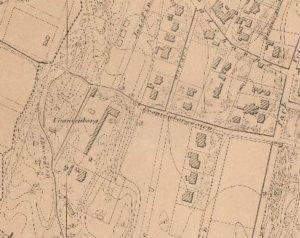Utsnitt fra Uranienborg, kart fra 1868.