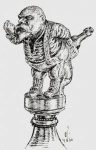 Nils Gladelig er udødeliggjort på toppen av Kunstnerforeningens punsjebolle, utført av Brynjulf Bergslien, som også har laget Karl Johans rytterstatue.