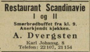 Annonse for Restaurant Scandinavie i adresseboken fra 1927.