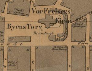 Her har nye Hotel Scandinavie kommet med på Næsers berømte kart fra 1861.
