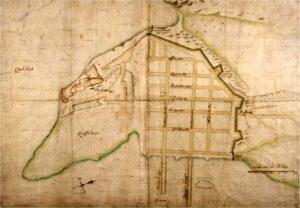 Dette kartet av Christiania tegnet Isaac van Geelkerck samme år som kongen ble hyllet, i 1648.