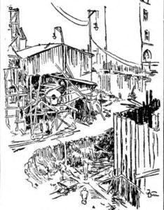 Aftenpostens reportasjetegning i 1916.