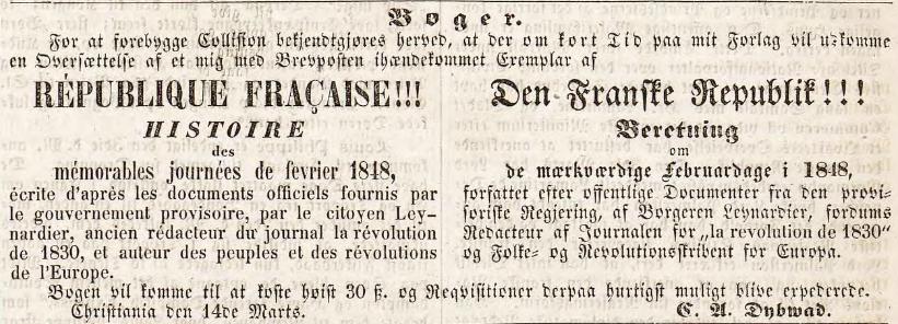 Det manglet ikke på informasjon om de internasjonale begivenhetene for de interesserte. Denne annonsen sto på trykk i Rigstidende 15. mars.