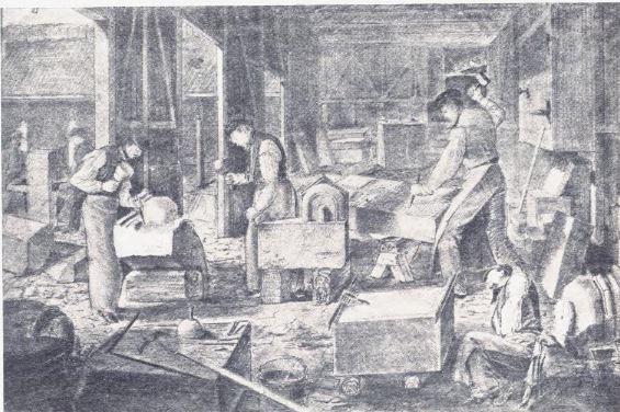 Steinarbeidene til Trefoldighetskirken. Tegning: Wilhelm von Hanno.