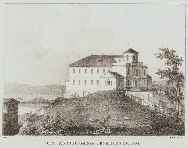 Observatoriet er blant bygningen som ligger i borden rundt utsiktsbildet. (Oslo museum)